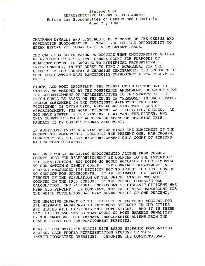 Statement of Representative Albert G. Bustamante