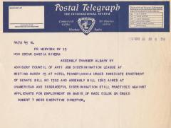 Telegram to the Honorable Oscar Garcia Rivera