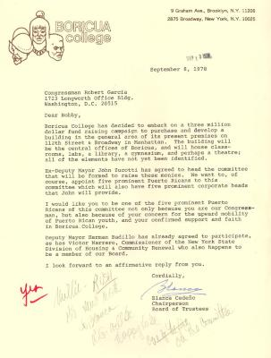 Correspondence to Robert Garcia from Boricua College
