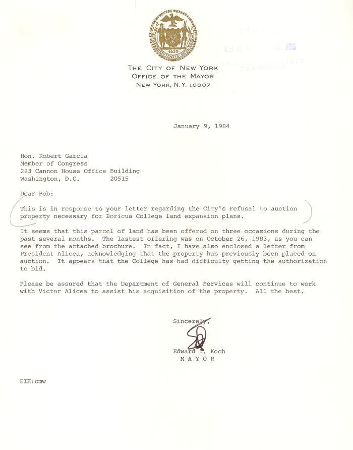 Correspondence to Robert Garcia from New York City Mayor Edward Koch