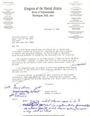 Draft of Correspondence to New York City Mayor Ed Koch from Robert Garcia