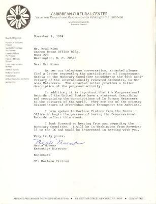 Correspondence to Brad Mims from Marta Moreno Vega