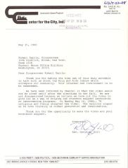 Correspondence to Robert Garcia from Center for the City, Inc.