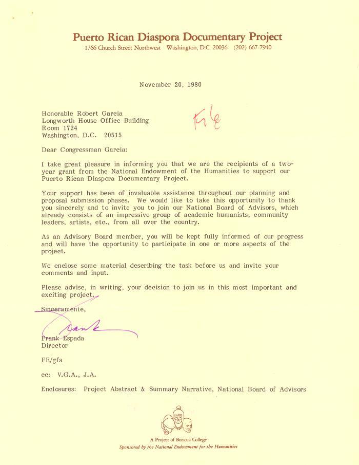 Correspondence to Robert Garcia from the Puerto Rican Diaspora Documentary Project