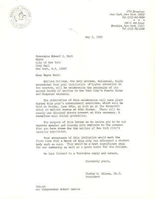 Correspondence to New York City Mayor Ed Koch from Boricua College