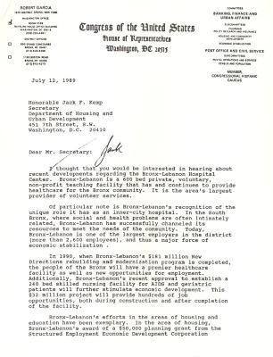 Correspondence to Jack Kemp from Robert Garcia