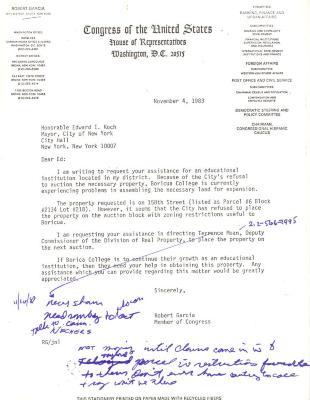 Draft of Correspondence to New York City Mayor Ed Koch from Robert Garcia