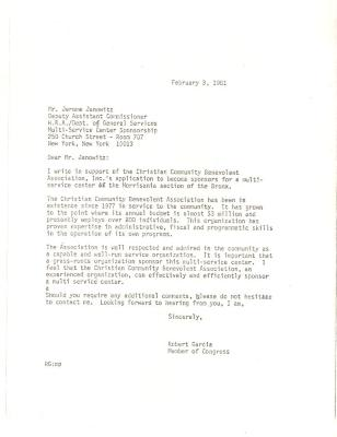 Correspondence to H.R.A./Department of General Services from Robert Garcia