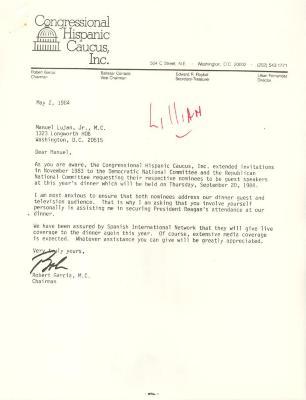 Correspondence to Manuel Lujan, Jr. from Robert Garcia