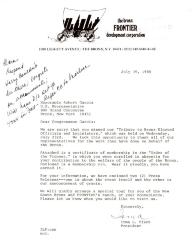 Correspondence to Robert Garcia from the Bronx FRONTIER Development Corporation
