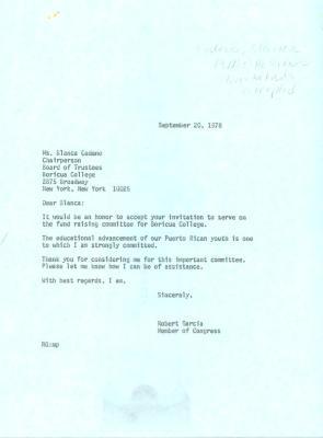 Correspondence to Boricua College from Robert Garcia