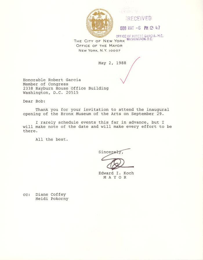 Correspondence to Robert Garcia from New York City Mayor Ed Koch