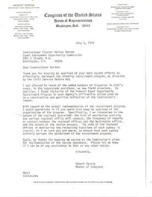 Correspondence to Eleanor Holmes Norton from Robert Garcia
