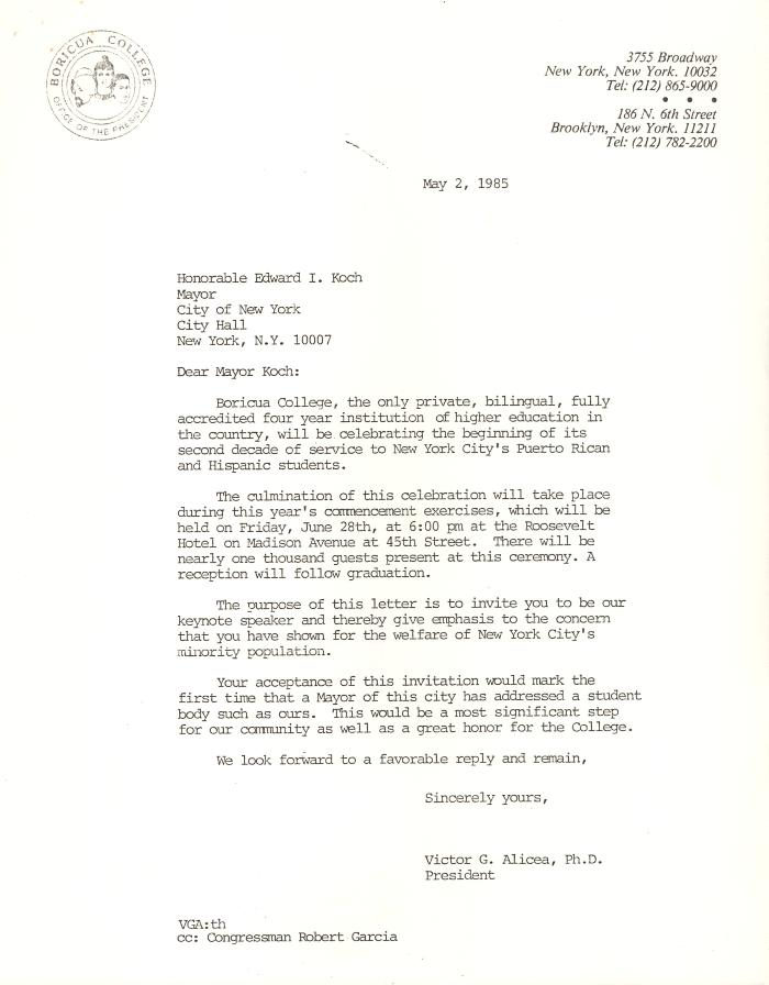 Correspondence to New York City Mayor Ed Koch from Boricua College