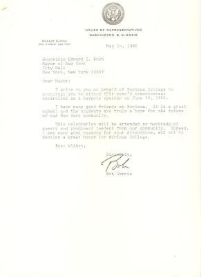 Correspondence to New York City Mayor Edward Koch from Robert Garcia