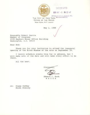 Correspondence to Robert Garcia from New York City Mayor Ed Koch
