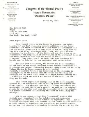 Correspondence to New York City Mayor Ed Koch from Robert Garcia