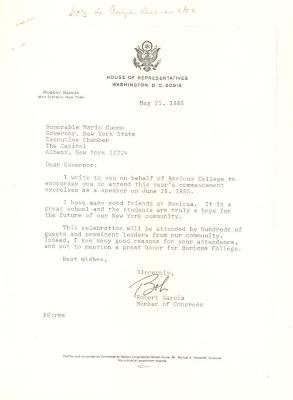 Correspondence to New York Governor Mario Cuomo from Robert Garcia