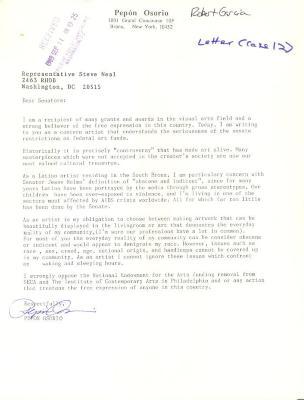 Correspondence to New York Senators from Pepón Osorio