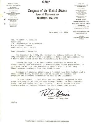 Correspondence to William J. Bennett from Robert Garcia