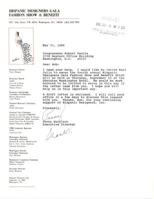 Correspondence to Robert Garcia from Hispanic Designers Gala & Fashion Benefit