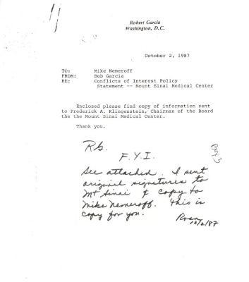 Correspondence to Mike Nemeroff from Robert Garcia