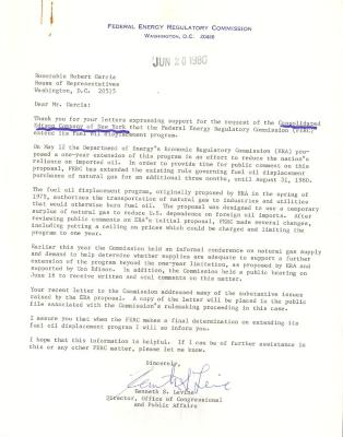 Correspondence to Robert Garcia from Kenneth S. Levine