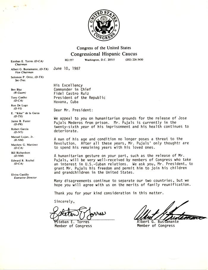 Correspondence to Fidel Castro from the United States Congress