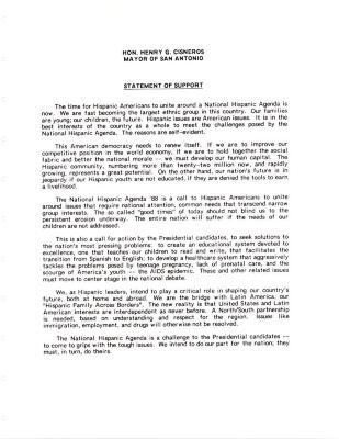 National Hispanic Agenda - Statement of Support