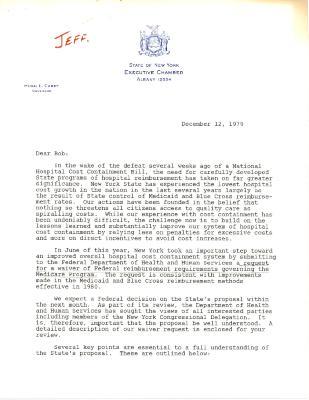 Correspondence to Robert Garcia from New York Governor Hugh Carey
