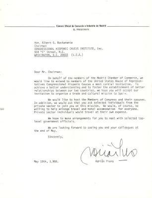 Correspondence to the Congressional Hispanic Caucus from Camara Oficial de Comercio e Industria de Madrid