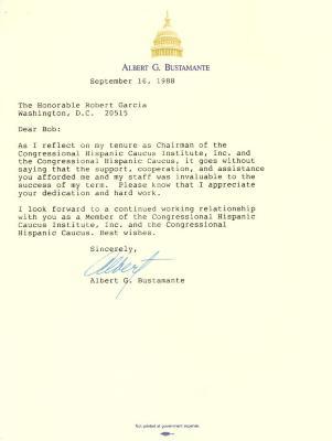 Correspondence to Robert Garcia from Albert Bustamante