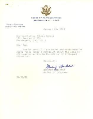 Correspondence to Robert Garcia from Shirley Chisholm