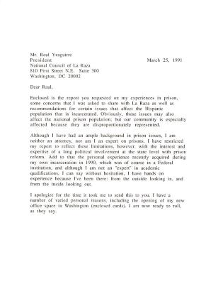 Correspondence to Raul Yzaguirre from Robert Garcia