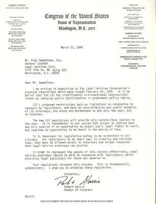 Correspondence to Alan Swendiman from Robert Garcia
