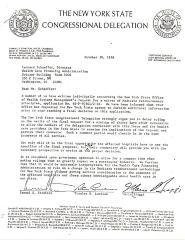 Correspondence to Leonard Schaeffer from New York State Congressional Delegation