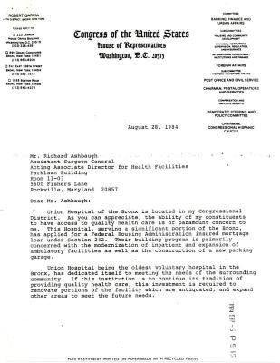 Correspondence to Richard Ashbaugh from Robert Garcia