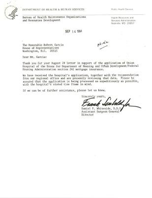 Correspondence to Robert Garcia from Daniel F. Whiteside