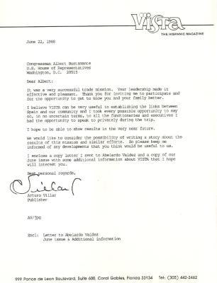 Correspondence to Congressman Albert Bustamante from Arturo Villar