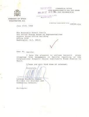 Correspondence to Robert Garcia from the Embassy of Spain