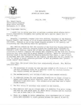 Correspondence to Robert Garcia from Senator Leonard P. Stavisky
