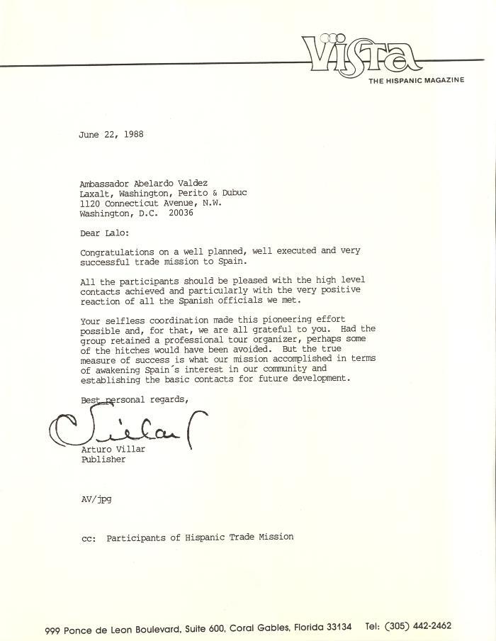 Correspondence to Ambassador Abelardo Valdez from Arturo Villar