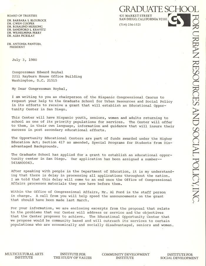 Correspondence to Congressman Edward Roybal from Antonia Pantoja