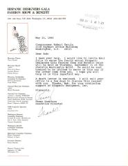 Correspondence to Robert Garcia from Hispanic Designers Gala & Fashion Benefit