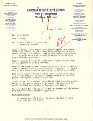 Correspondence to Robert Garcia from Ken Marty