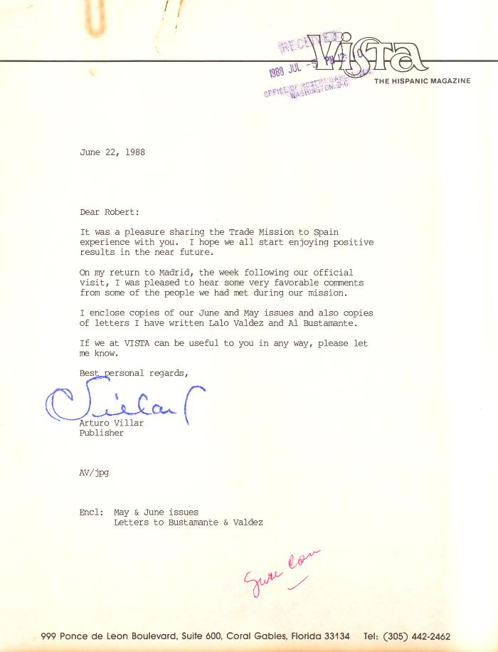 Correspondence to Robert Garcia from Arturo Villar