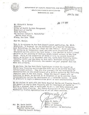 Correspondence to Richard A. Berman from James Caple
