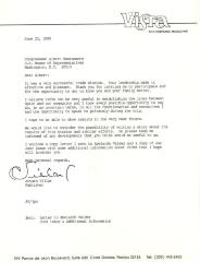 Correspondence to Congressman Albert Bustamante from Arturo Villar