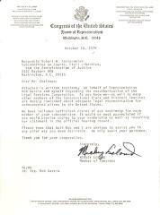 Correspondence to the Hon. Robert W. Kastenmeier from Mickey Leland