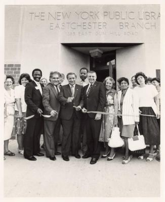 Group of people at the New York Public Library Eastchester Branch opening